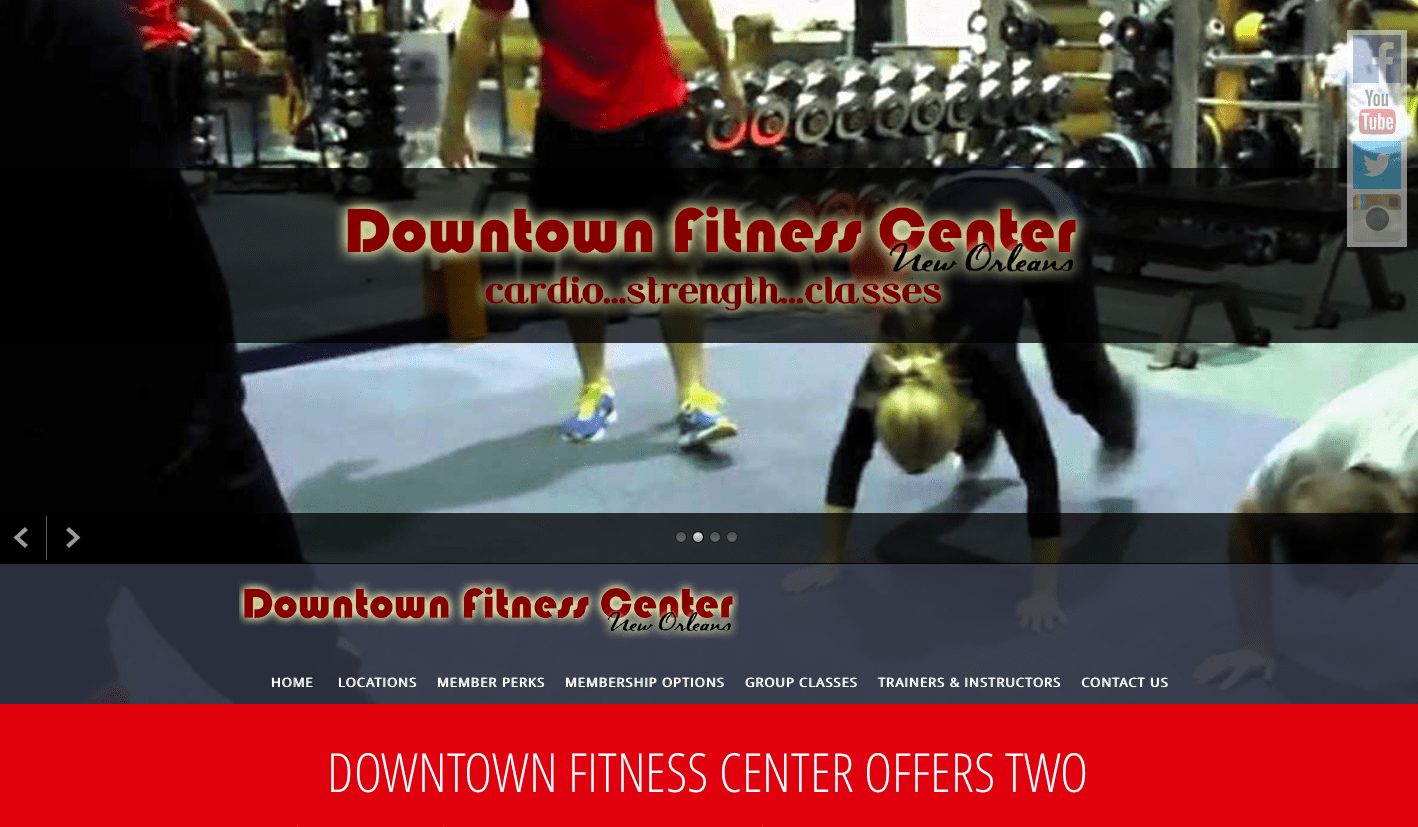New Orleans gym and fitness center web site design